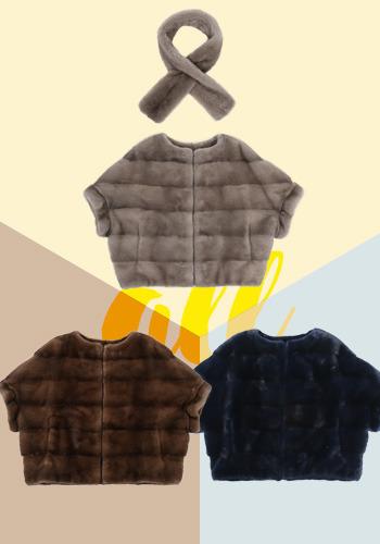 케이프스타일 밍크 재킷 [+훌밍크목도리 : 네비컬러 추가입고 예정]
